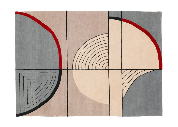 Patterned handmade rug by London-based Deirdre Dyson