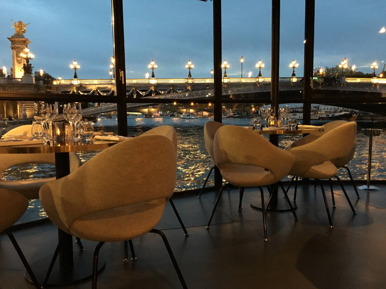 Flow péniche restaurant, Rive Gauche, at the foot of Pont Alexandre III