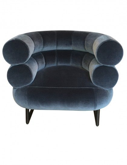 Vintage blue-grey velvet Bibendum armchair by Gray Eileen for ClassiCon, at Gallery Democratic