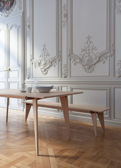 Haritz dining table and bench by Léa Padovani & Sébastien Kieffer
