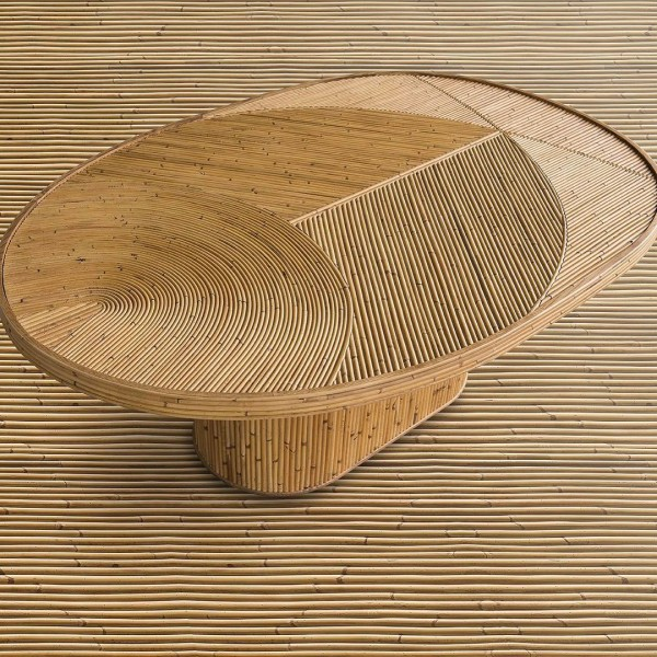 Rattan table by India Mahdavi | Flodeau.com